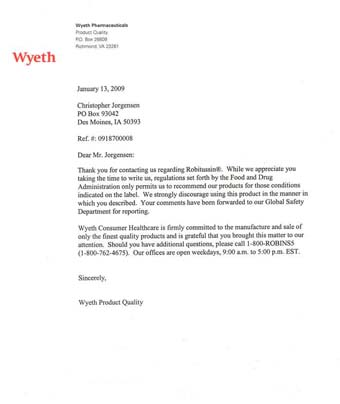 Scan of the letter from Wyeth Pharmaceuticals
