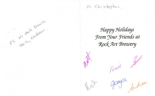 Scan of the back of the card from Rock Art Brewery