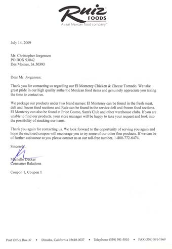 Scan of the letter from Ruiz Foods Tornados