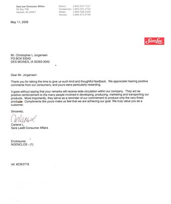 Scan of the letter from Sara Lee