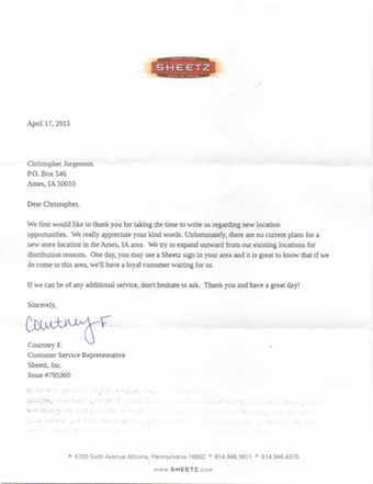 Scan of the letter from Sheetz, Inc.