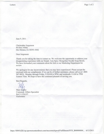 Scan of the letter from Simply Asia Foods