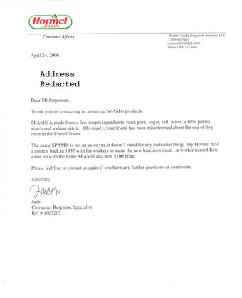 Scan of the letter from SPAM