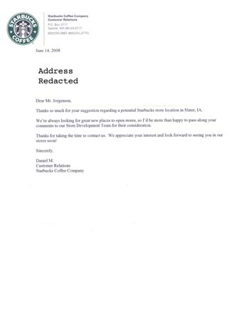Scan of the letter from Starbucks