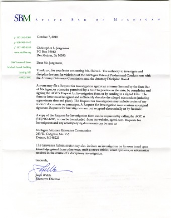 Scan of the letter from The State Bar of Michigan