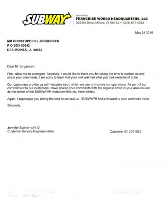 Scan of the letter from Subway
