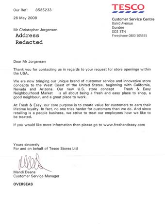 Scan of the letter from Tesco