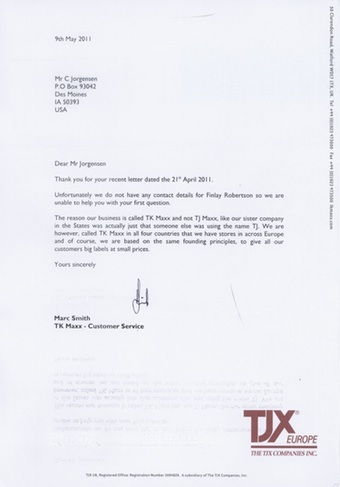 Scan of the letter from TK Maxx