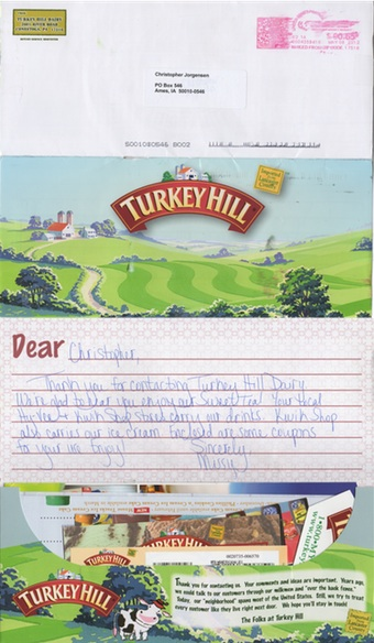 Scan of the letter from Turkey Hill Dairy