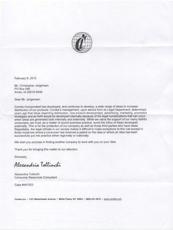 Scan of the letter from Vagisil