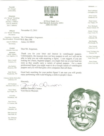 Scan of the letter from the Vent Haven Museum.