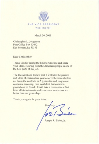 Scan of the letter from Vice President Biden