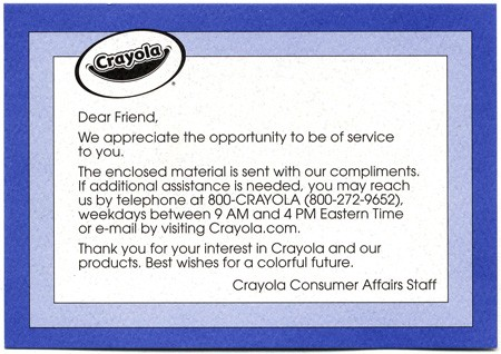 Card from Crayola.