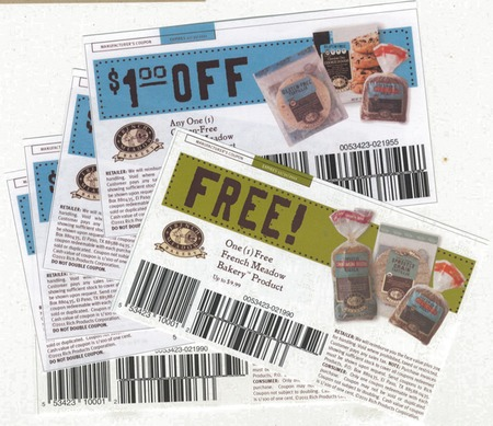 Scan of the coupons  from French Meadow Bakery