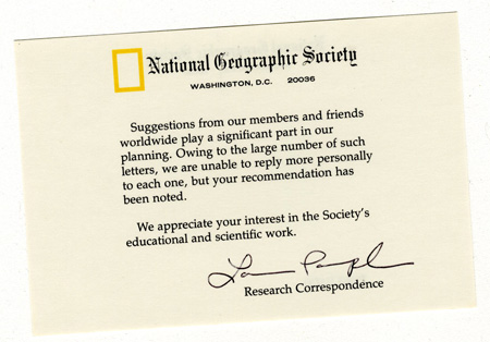 Scan of the card from National Geographic