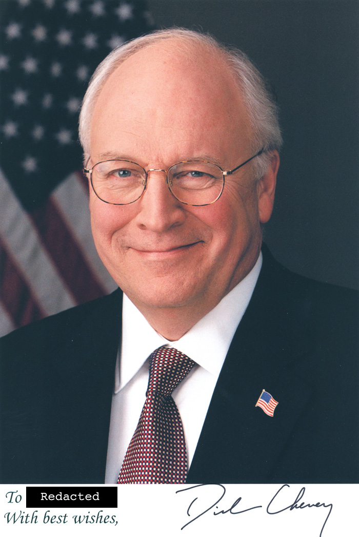 Scan of the photo from Vice President Richard B. Cheney