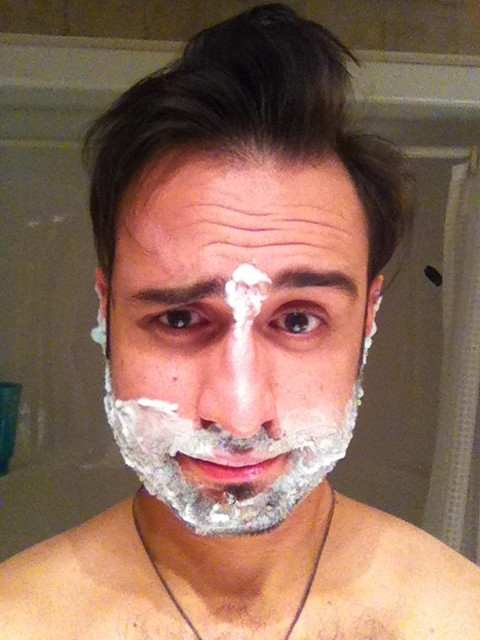Anthony shaving.