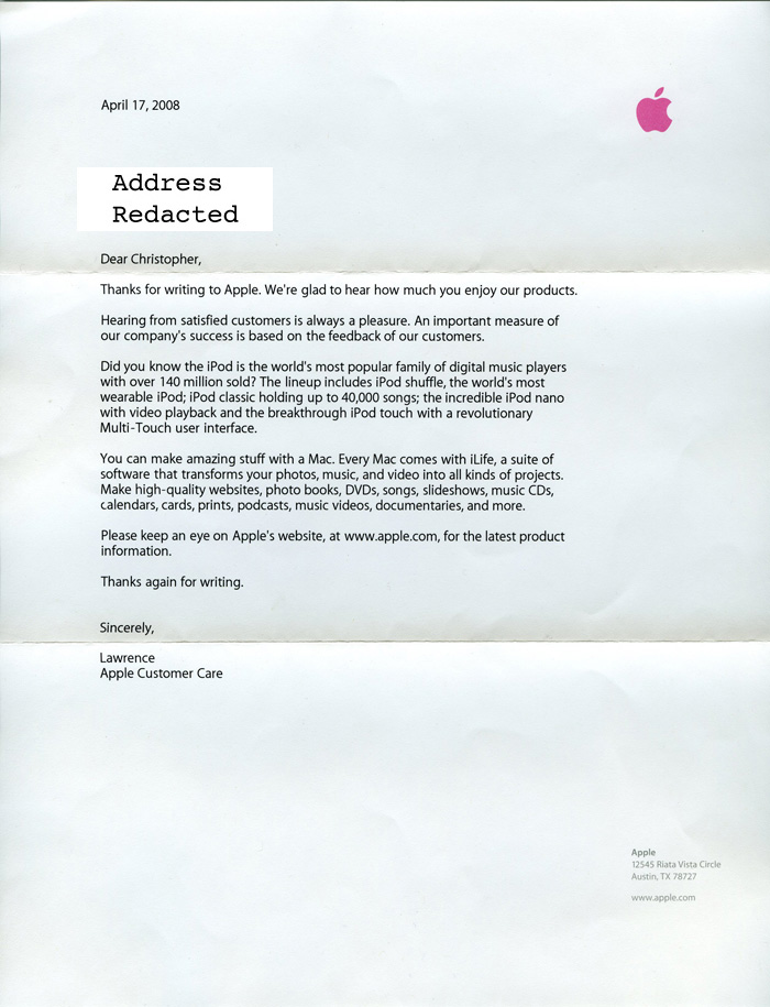 Jackass letters dear apple pt 1 scans of the letter from apple thecheapjerseys Image collections