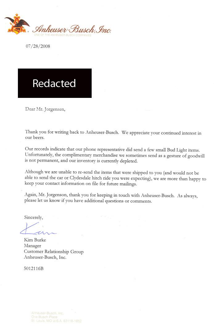 Jackass Letters: Dear Budweiser (pt  2)