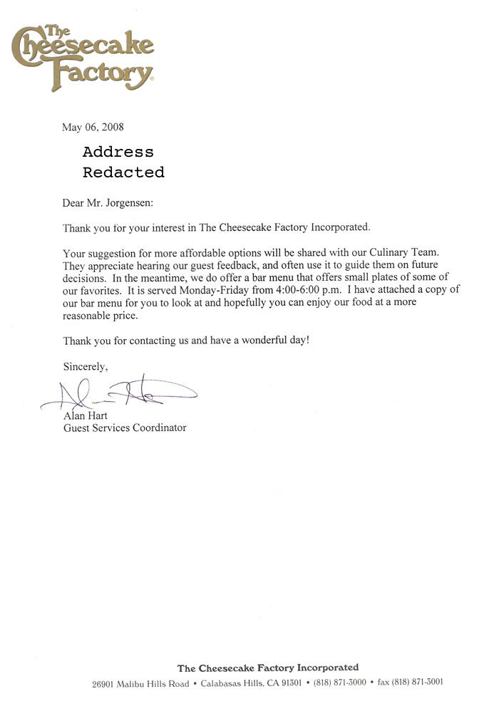 Jackass Letters: Dear Cheesecake Factory
