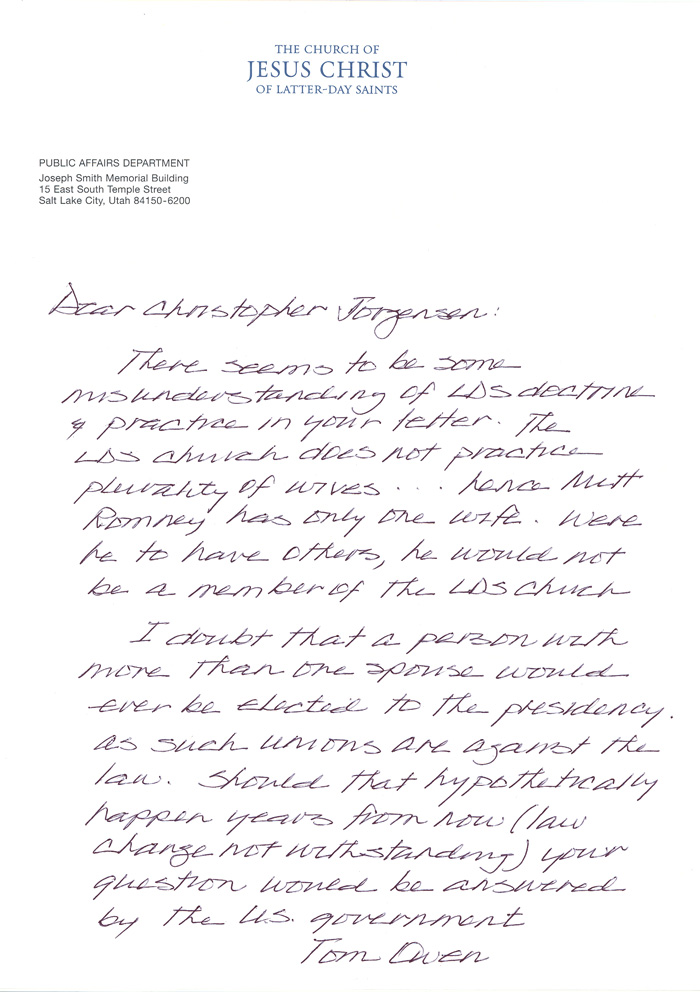 First Presidency Letters