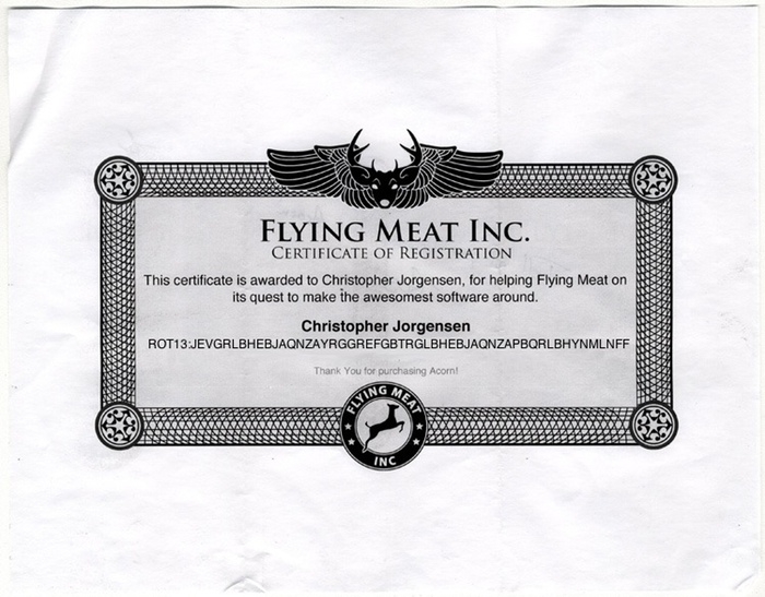 Scan of the certificate from Flying Meat