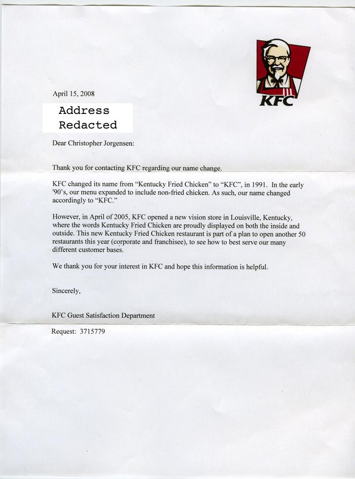 Jackass Letters  Dear Kfc