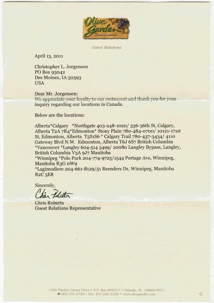 Jackass Letters: Dear Olive Garden