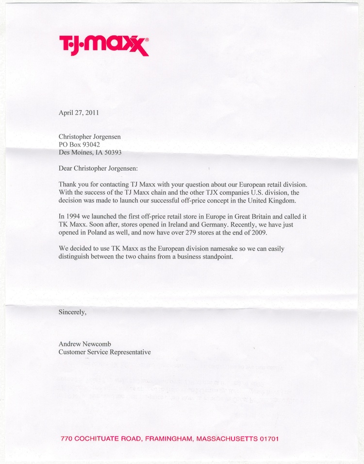 Scan Of The Letter From TJ Maxx