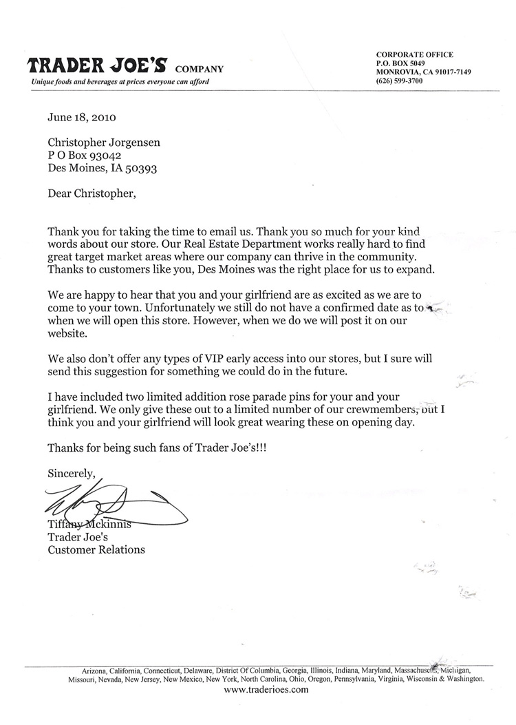 Scan Of The Letter From Trader Joes
